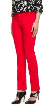 Samantha Slim in red coloured denim